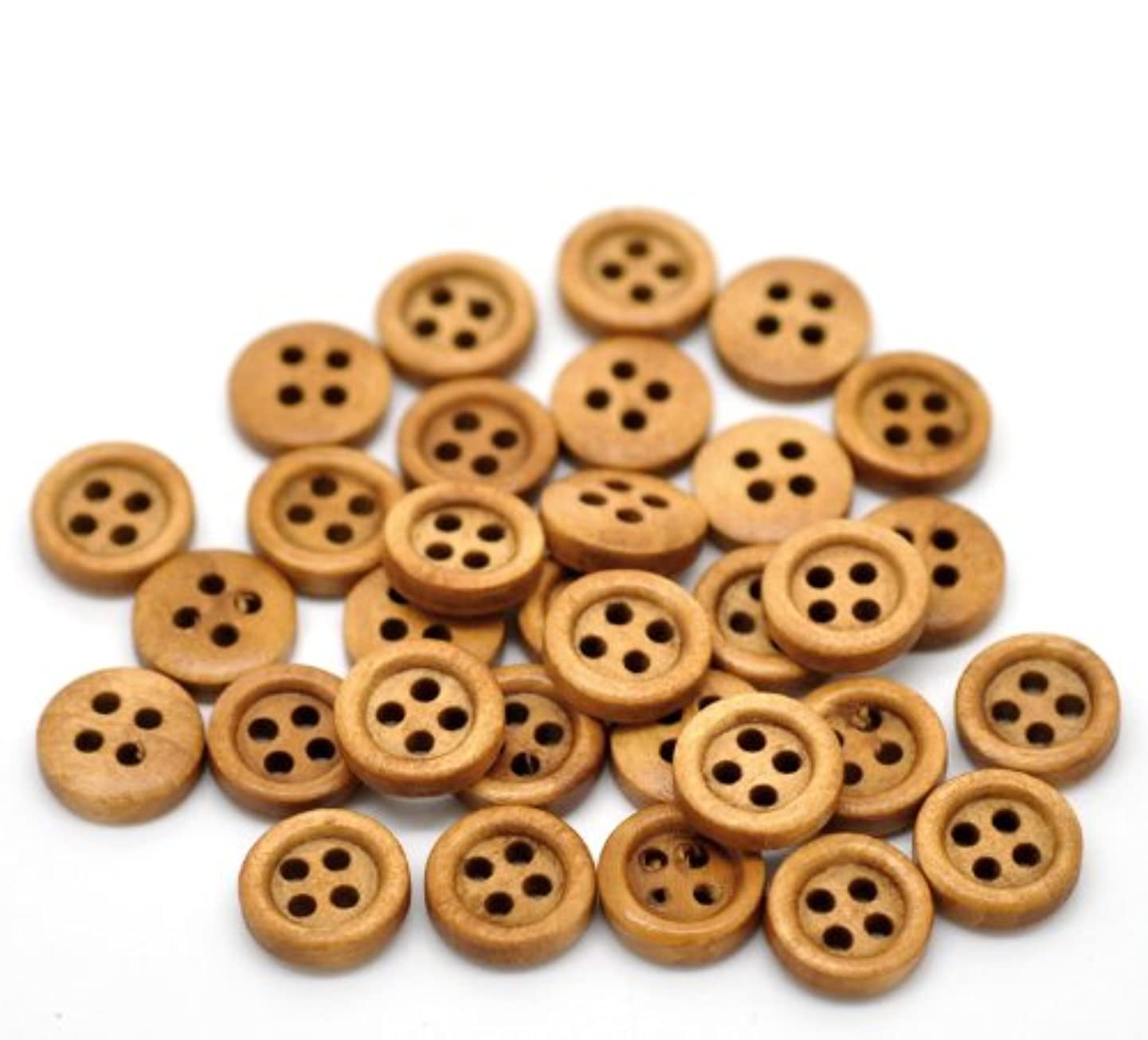 PEPPERLONELY Brand 200PC Natural 4 Hole Scrapbooking Sewing Wood Buttons 11mm ( 3/8 Inch)