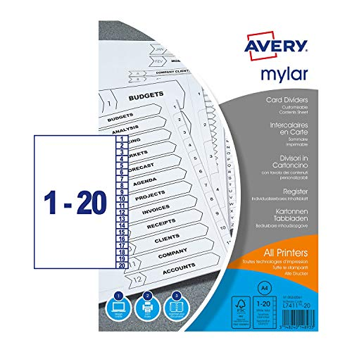 Avery 05242061 A4 Mylar Pre-Printed Unpunched Dividers, 1-20 Numeric, 5 Set...