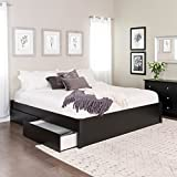 King Select 4-Post Platform Bed with 4 Drawers, Black