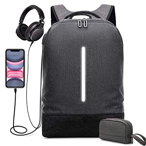Laptop Backpack 15.6 Inch Water Resistant School Bookbag Anti Theft Slim Daypack with Rain Cover Wide Open Travel Computer Backpack for Men Women