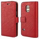 FDTCYDS Etui Galaxy S 5 Mini,Coque Galaxy S 5 Mini Pochette Portefeuille en Cuir Véritable Coque de Protection pour Housse Samsung Galaxy S 5 Mini avec – Red/Rouge