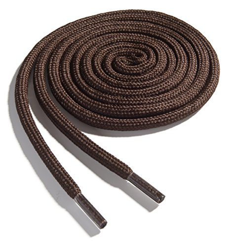 OrthoStep Thick Round Athletic 48 inch Brown Shoelaces - Thick Shoe and Hiker Boot Laces 2 Pair Pack