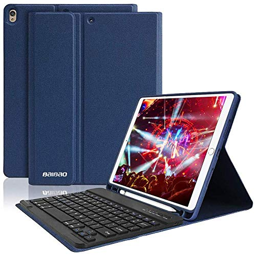 iPad 10.5 Keyboard Case with Pencil Holder for iPad Air 3 2019/iPad Pro 10.5' 2017,Magnetically Bluetooth Keyboard,iPad Case with Detachable Keyboard (Dark Blue)