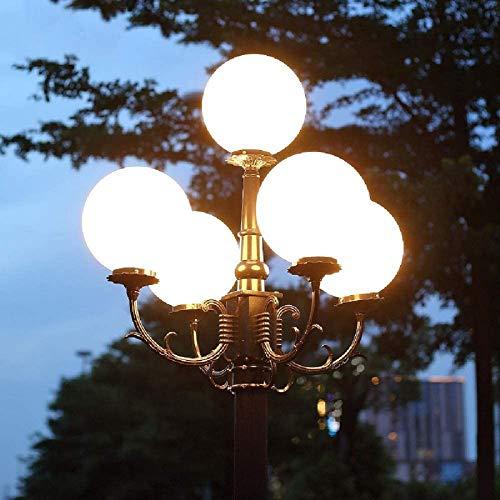 Decoración del hogar 5 luces Europeo Antiguo Jardín al aire libre Impermeable Poste alto Paisaje Lámpara de calle Poste vintage Bolardo Globo de luz Linterna de acrílico Plaza Parque Camino Lámpara