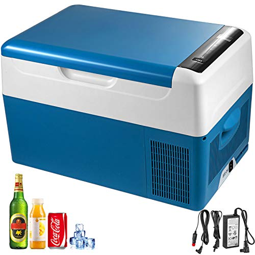BuoQua 22L Autokühlschrank Kompressorkühlbox Edelstahl Urlaub Isolierbox Mini Kühlschrank Kühlbox Auto und Steckdose