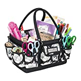 Everything Mary Black & Floral Deluxe Store and Tote - Storage Craft Bag Organizer for Crafts, Sewing, Paper, Art, Desk, Canvas, Supplies Storage Organization with Handles for Travel