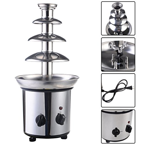 New 4 Tiers Commercial Hot New Luxury Chocolate Fondue Fountain Stainless Steel