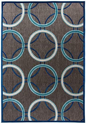 Carpetforyou Moderner flachgewebter In- & Outdoor Teppich Turquoise Swirl 3D Effekt geometrisch grau Kreise dunkelblau türkis Creme bunt in 4 Größen für Wohnzimmer Schlafzimmer oder Terrasse