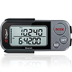 top rated 3D TriSport Pedometer with Barrel Clip and Strap, Free EBook | 30 Days Reminder, Precise Steps… 2021