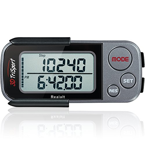 top rated 3D TriSport Pedometer with Barrel Clip and Strap, Free EBook | 30 Days Reminder, Precise Steps… 2020