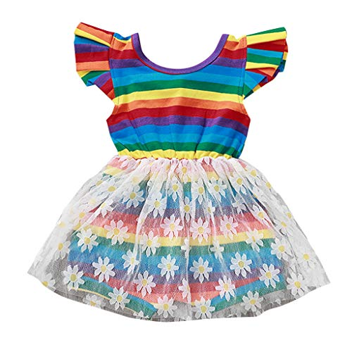 Luoluoluo babyjurken regenboog jumpsuit van gestreepte mesh met vliegende mouwen voor kinderen kleur mesh rok prinses partyjurk