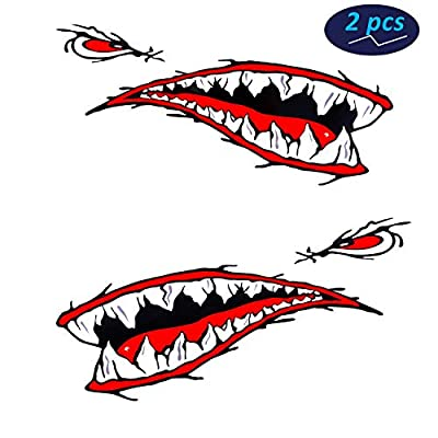 Ikerall Shark Teeth Mouth Reflective Decals Sticker Fishing Boat Canoe Car Truck Kayak Graphics Accessories?A-Style?