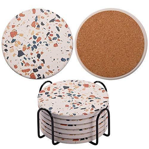Posavasos para bebidas, absorbentes de cerámica estilo mármol con base de corcho, regalo de inauguración de la casa y la cocina, juego de 6