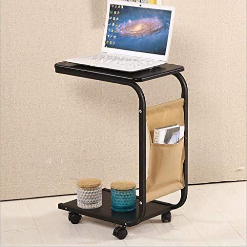 NBVCX Decoración de Muebles Mesa Auxiliar pequeña en Forma de C Mesa de sofá móvil con Ruedas Mesa Auxiliar Mesa Auxiliar Mesa de Centro con Estante de Almacenamiento y Bolsa para revistas (Color: A)