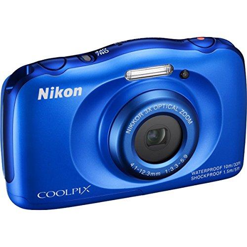Nikon COOLPIX S33 13.2MP Waterproof Digital Camera - Blue (Renewed)