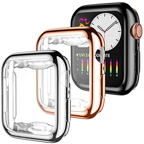 Dirrelo 3 Pack Cover Compatibile per Apple Watch Series 5/4 40mm, Custodia Protettiva in TPU Copertura Completa Proteggi Schermo Compatible per iWatch 5/4, Nero+Argento+Oro Rosa