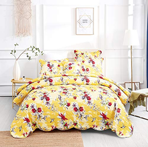 DaDa Bedding Radiant Sunshine Yellow Bedspread Quilt - Farmhouse Floral Hummingbirds Quilted Coverlet Set - Scalloped Edges Bright Vibrant Multi-Colorful Red Flowers - Twin - 2-Pieces