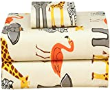 Ruvanti 100% Cotton 4 Pcs Flannel Sheets Full- Animal Print- Jungle Safari - Deep Pocket, Warm, Super Soft & Breathable Full Size Flannel Bed Sheets Set Include Flat Sheet, Fitted Sheet 2 Pillow Cases