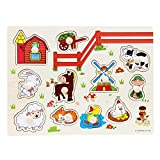 BOBORA Puzzles Infantiles de Madera Juegos Juguetes Educativos de Aprendizaje Juguete Rompecabezas de Madera para Niños Pequeños de 1 Año (Animales de Granja)