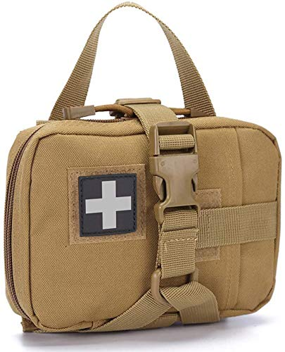 IFAK Pouch Medical Pouch MOLLE IFAK First Aid Pouch Empty, Belt Med Military Tactical Rip Away EMT Pouch, Blowout First Aid Bag Only (TAN)