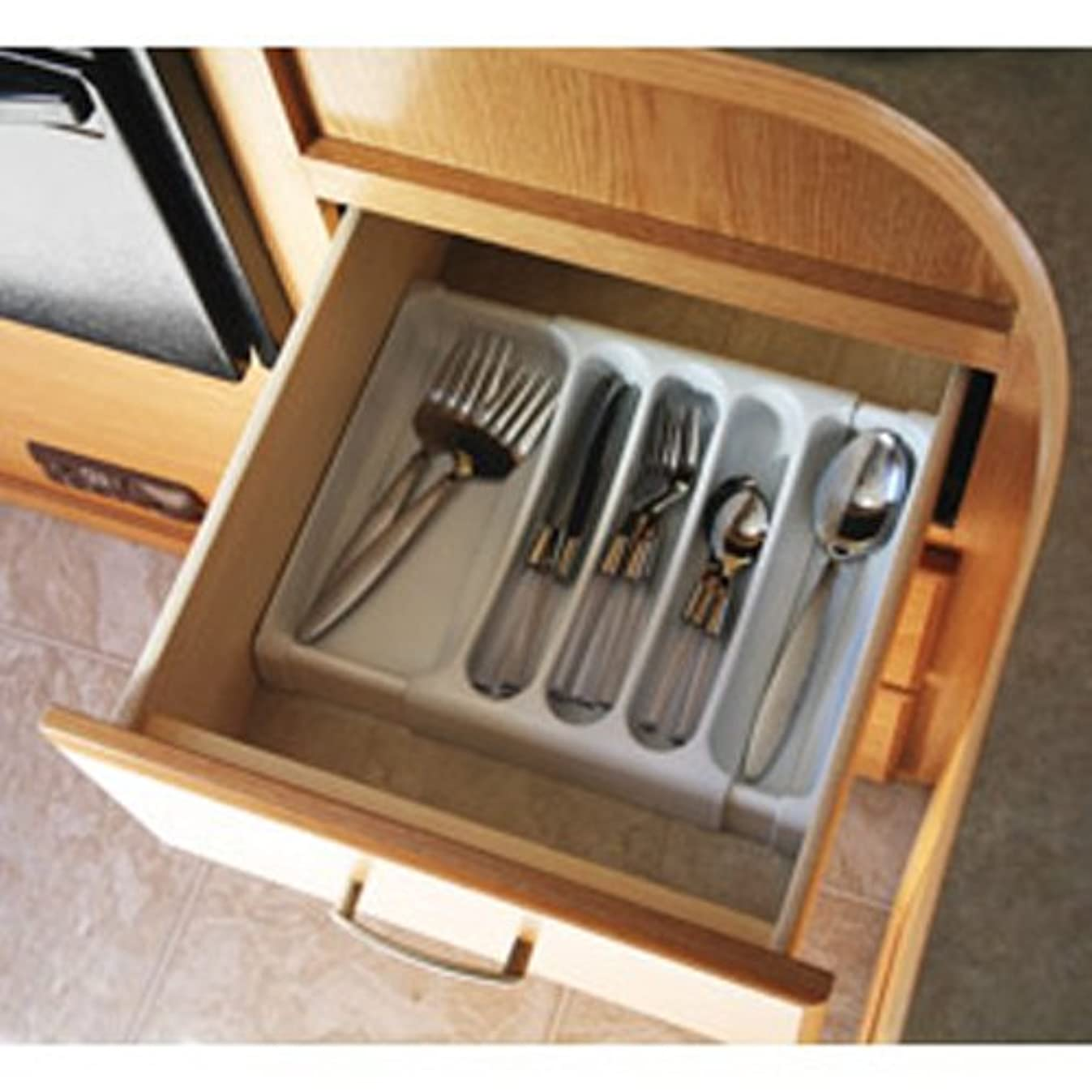 Camco Adjustable Cutlery Tray - Designed for RV and Compact Kitchen Drawers , Adjusts between 9