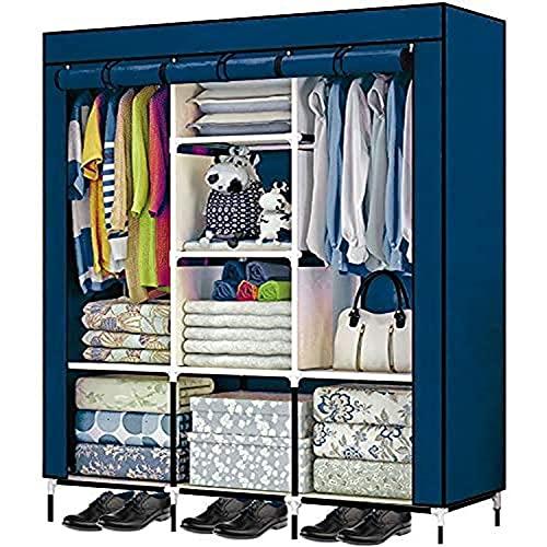Just Home Rack & Pack Closet Ropero Organizador Multifuncional Armable Portatil Entrepaños Resistente Ecologico Tubular Excelente Calidad 175x125.46cm Color Azul