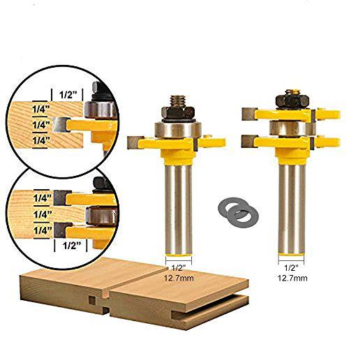 APLUS 2 teilig Groove und Tongue Zunge und Nut Set Router Bit Set Oberfräser Holzbearbeitung Fräsen Holzschneider Werkzeug für Graviermaschine Trimmmaschine (Ø = 1/2'' = 12,7mm)