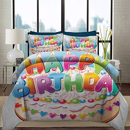 Kids Birthday Duvet Cover Set Twin Size Cartoon Style Happy Birthday Party Image Cake Candles Hearts Design Print Decorative 3 Piece Bedding Set with 2 Pillow Shams for Adult/Kids Multicolor
