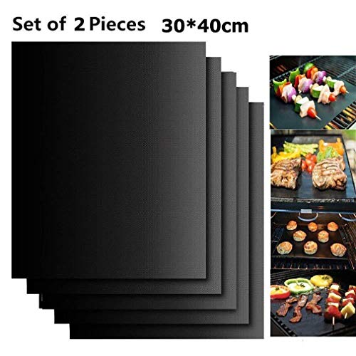 Dragon Honor 2019 Hirundo Non-Stick BBQ Baking Mats - 2 Packs (Black)