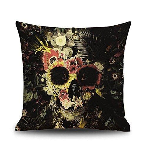 Uteruik Funda de cojín cuadrada con diseño de calavera de Halloween para decoración de sofá, 1 unidad (m-#27)