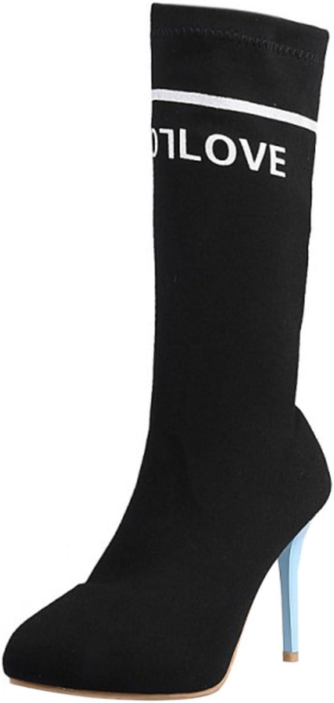 TAOFFEN Women Fashion Stiletto Heel Half Boots Pull On shoes