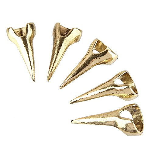 Amesii - Set di 5 anelli decorativi per unghie, in lega, stile punk, effetto artigli e Lega, 53 (16.9), colore: Bronze, cod. AME