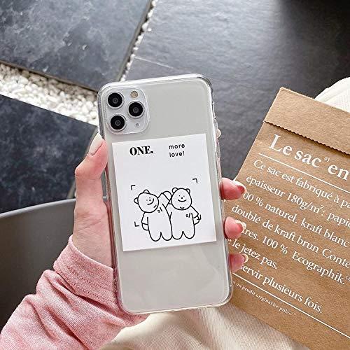 La caja del teléfono móvil del oso de la foto de la historieta es adecuada para la caja protectora del teléfono móvil iphone11 parejas anti-caída-iPhone7plus / 8p ilustración oso blanco