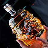 Whiskey Decanter Glasses - Personalized Flask Carafe Decanter Transparent 100% Lead Free Crystal Clear for Brandy,Scotch,Bourbon,Vodka,Liquor - 750ml