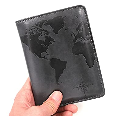 Kandouren RFID Blocking Passport Holder Cover Case,travel luggage passport wallet made with Gray Map Crazy Horse PU Leather for Men & Women