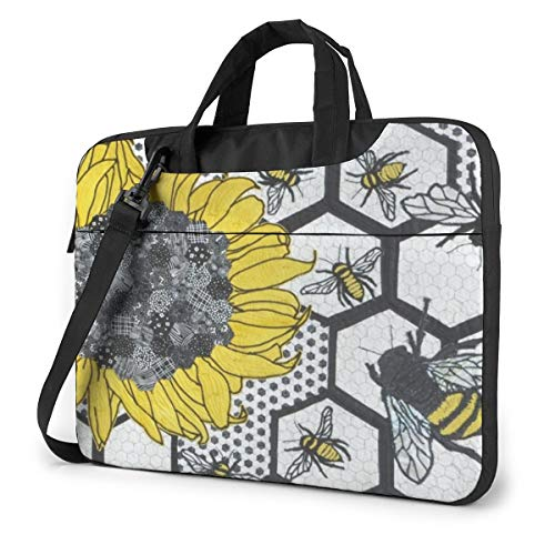 Sunflower Bee Beehive Laptop Bag, 15.6 Inch Multi Functional Notebook Sleeve Carrying Case with Strap & Trolley Belt for Lenovo Acer Dell Lenovo Hp Samsung Ultrabook Chromebook
