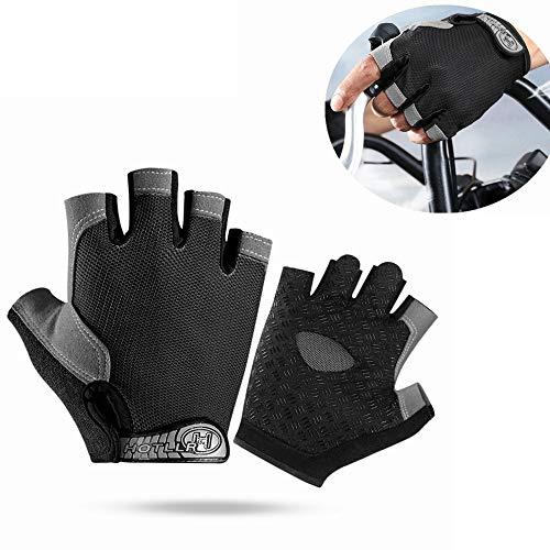 FWL Gants Fitness Training Gants, Gants Protection Extra Grip Palm et Respirant Vêtements de Sport Doigt Demi-résistant très approprié pour Haltérophilie Fitness,Noir,XL