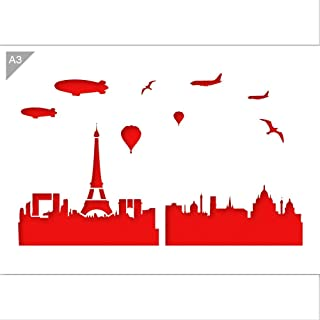 Paris Skyline Stencil - Card or Plastic - A3 16.5 × 11.7 inch – Skyline Width: 14.5 inch - Reusable, Kids Friendly Stencil - Painting, Crafts, Cakes, Windows, Wall and Furniture Stencil (Plastic)