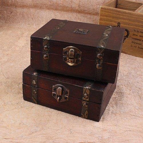 loinhgeo - Caja de Almacenamiento para Joyas, Pendientes, Collares, Pulseras, Caja de Regalo de Madera, Caja de Almacenamiento de Madera Vintage
