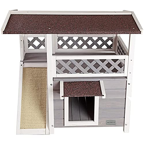 Petsfit Cat House for Outdoor Cats Weatherproof with Scratching Pad and Escape Door, Outside Feral...