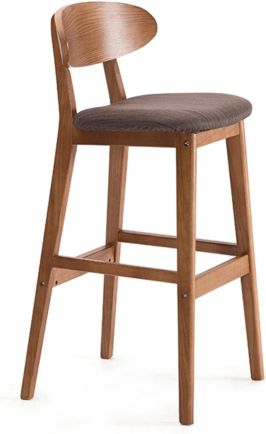 BO WEN HOME- Solid wood creative bar chairs, bar chairs, European-style back bars, simple retro bar stool, high stool ( color   Brown )