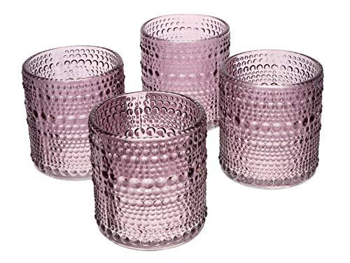 NoNa ORIS violett lila - 4er Set Teelichtglas - Teelichtgläser Kerzenglas Kerzengläser Windlicht Vintage orientalisch