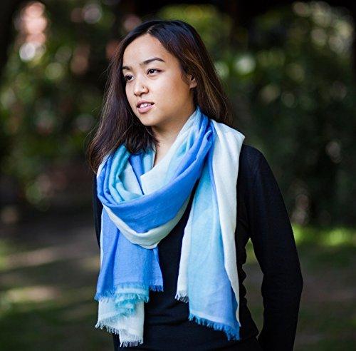 100% Kaschmir Schal Stola Verpackung für Frauen, Luxus-Winter-Kaschmir Pashmina-Schal (100/2 Garnzusammensetzung), Blau und Silber ombre Schal
