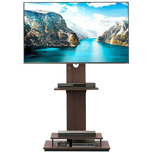 【43-65型推奨】 アイリスオーヤマ テレビスタンド 液晶TVスタンド 耐震設計(震度7) 棚板2枚 39段階調節 ブラウン 幅75×奥行39.1×高さ139.5�p UTS-W75