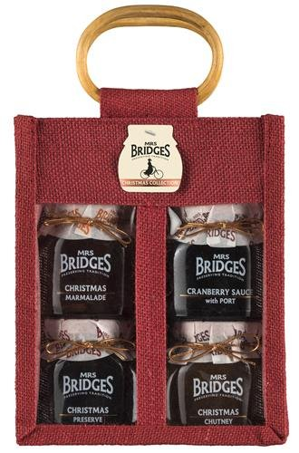 Mrs Bridges Christmas Collection Four Jar Jute Bag