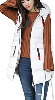 FSSE Women's Hoodie Sleeveless Warm Mid Length Winter Jacket Down Quilted Vest