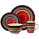 Gibson Home Casa Stella Dinnerware Set, Red, 16-piece