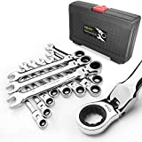 AZUNO 12-Piece Flex-head Ratcheting Wrench Set, Metric Ratchet Spanner Set 8-19mm, Chrome Vanadium Steel with Deluxe Case