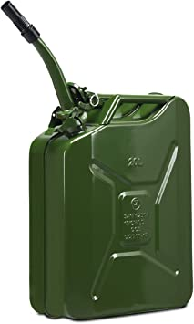 Goplus 20 Liter (5 Gallon) Jerry Fuel Can with Flexible Spout, Portable Jerry Can Fuel Tank Steel Fuel Can, Fuels Gasoline Cars, Trucks, Equipment (Army Green): image