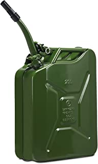 Goplus 20 Liter (5 Gallon) Jerry Fuel Can with Flexible Spout, Portable Jerry Can Fuel Tank Steel Fuel Can, Fuels Gasoline Cars, Trucks, Equipment (Army Green)